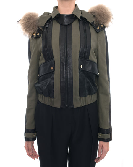 Jason Wu Olive Green and Leather Short Bomber Jacket with Fur Trim Hood  - 6