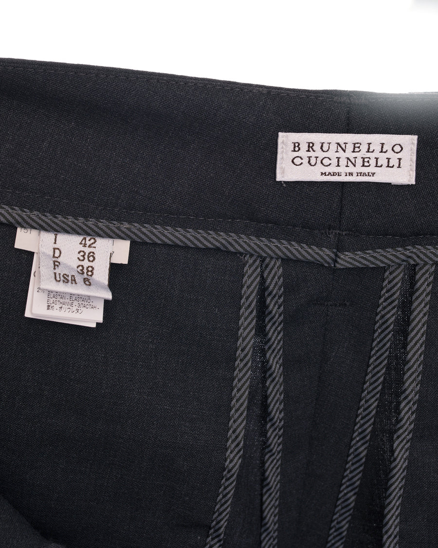 Brunello Cucinelli Charcoal Grey Trouser with Bead and Fringe Trim - 6