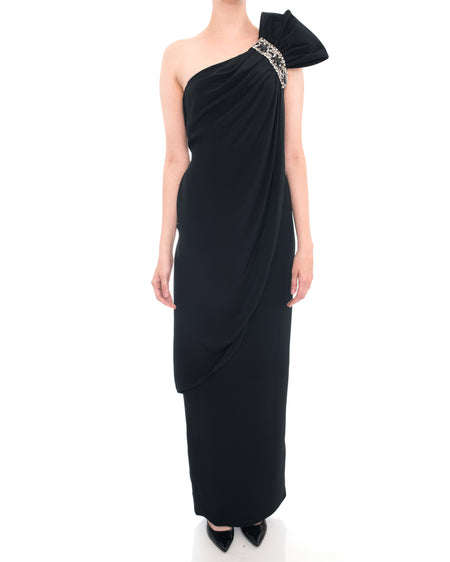Marchesa Notte Black One Shoulder Jewelled Gown - 10