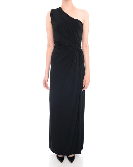 Philosophy Alberta Ferretti One Shoulder Black Jersey Evening Gown - 8