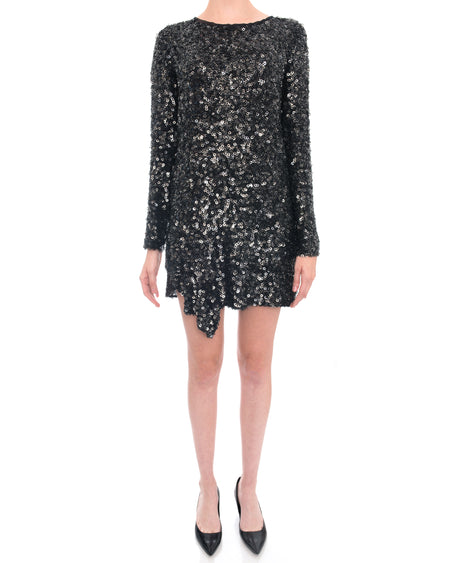 Phillip Lim Long Sleeve Gunmetal Silver Sequin Cocktail Dress - 2