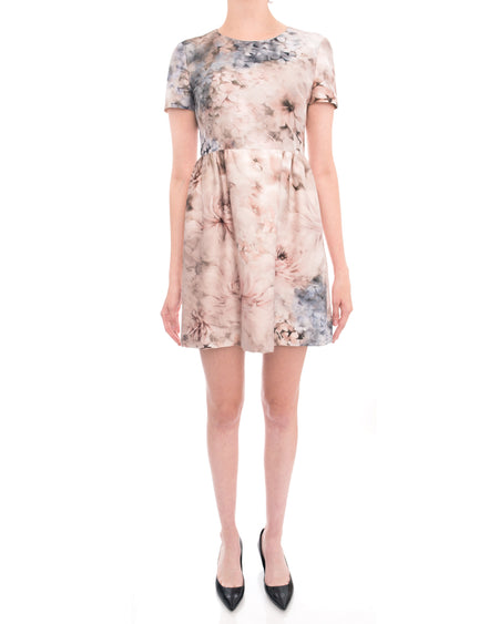 Valentino Pink Floral Short Sleeve Cocktail Dress - 6