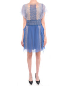 Alberta Ferretti Light Blue Silk Chiffon Ruffle Flapper Dress with Lace - 8