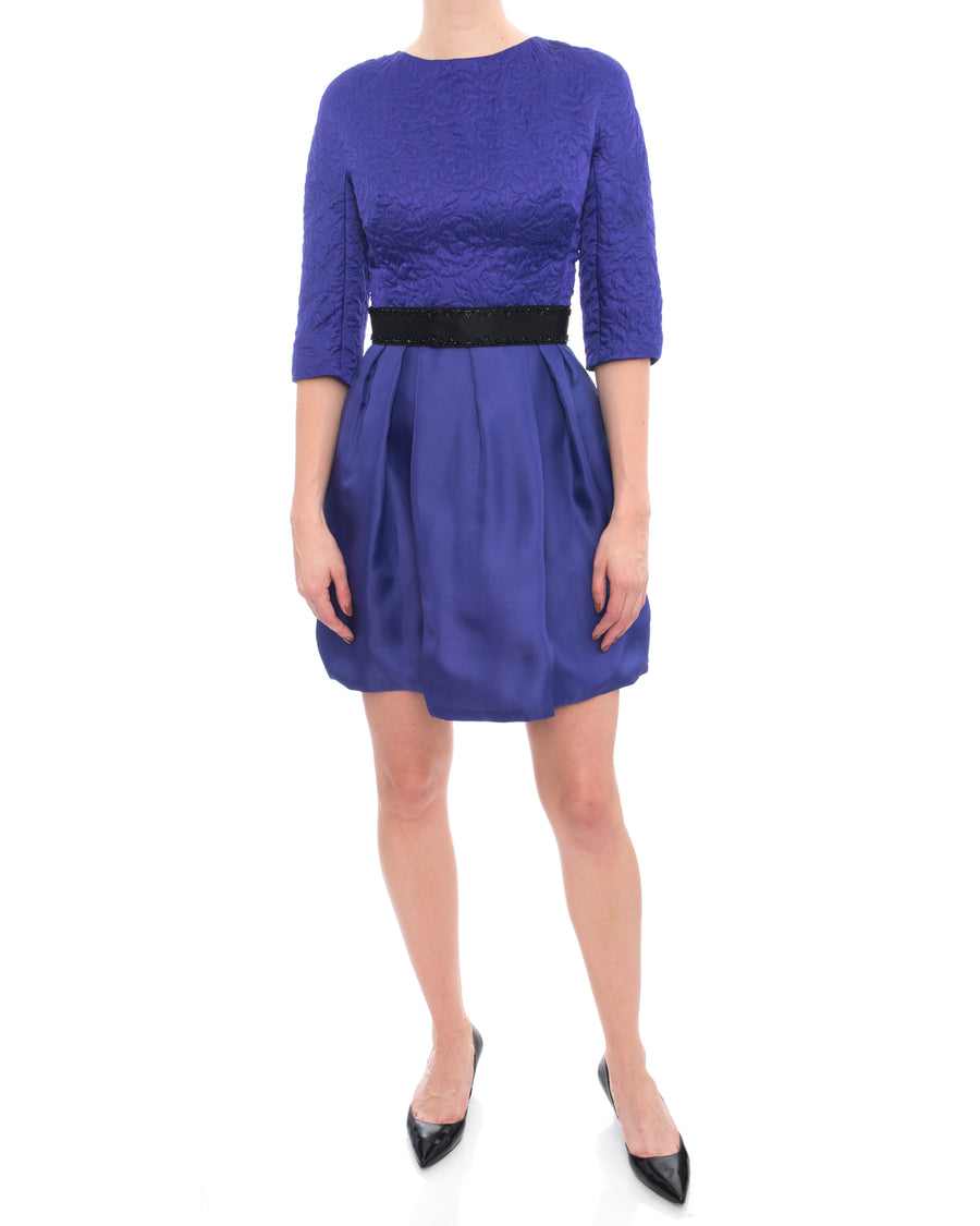 Christian Dior Purple Silk Dress with Black Beaded Belt - 4