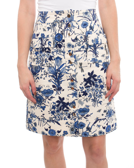 Gucci Flora and Fauna Blue and Ivory Cotton Snap Skirt - 6
