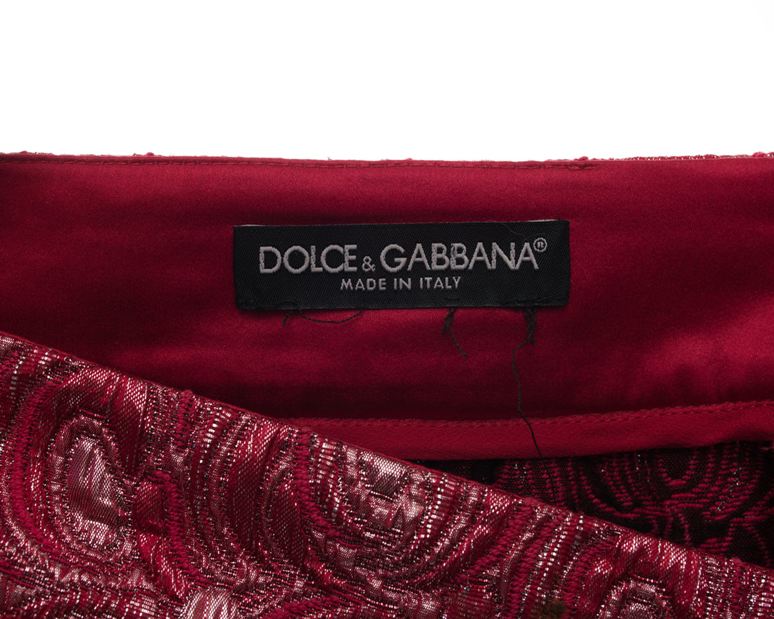 Dolce and Gabbana Red Brocade Circle Profile Skirt - 10