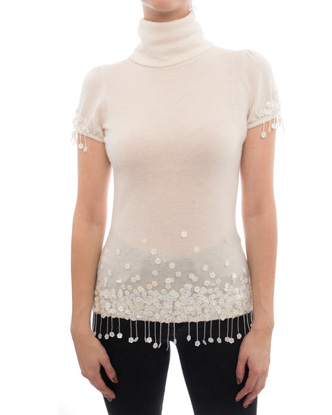 Chanel 04A Ivory Cashmere Knit Top with Sequin Bead Fringe - 6