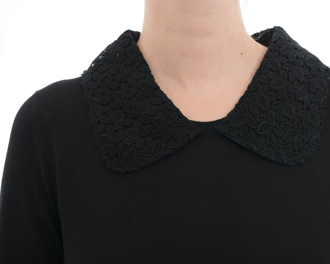 Dolce Gabbana Black Knit Long Sleeve Sweater with Lace Collar - 8