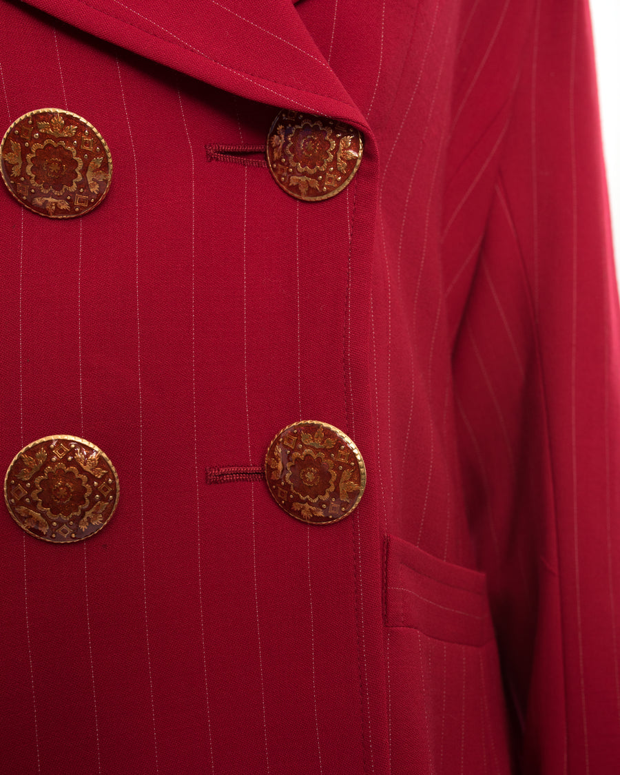 Christian Lacroix Vintage 1990's Red Pinstripe Wool Jacket - 12