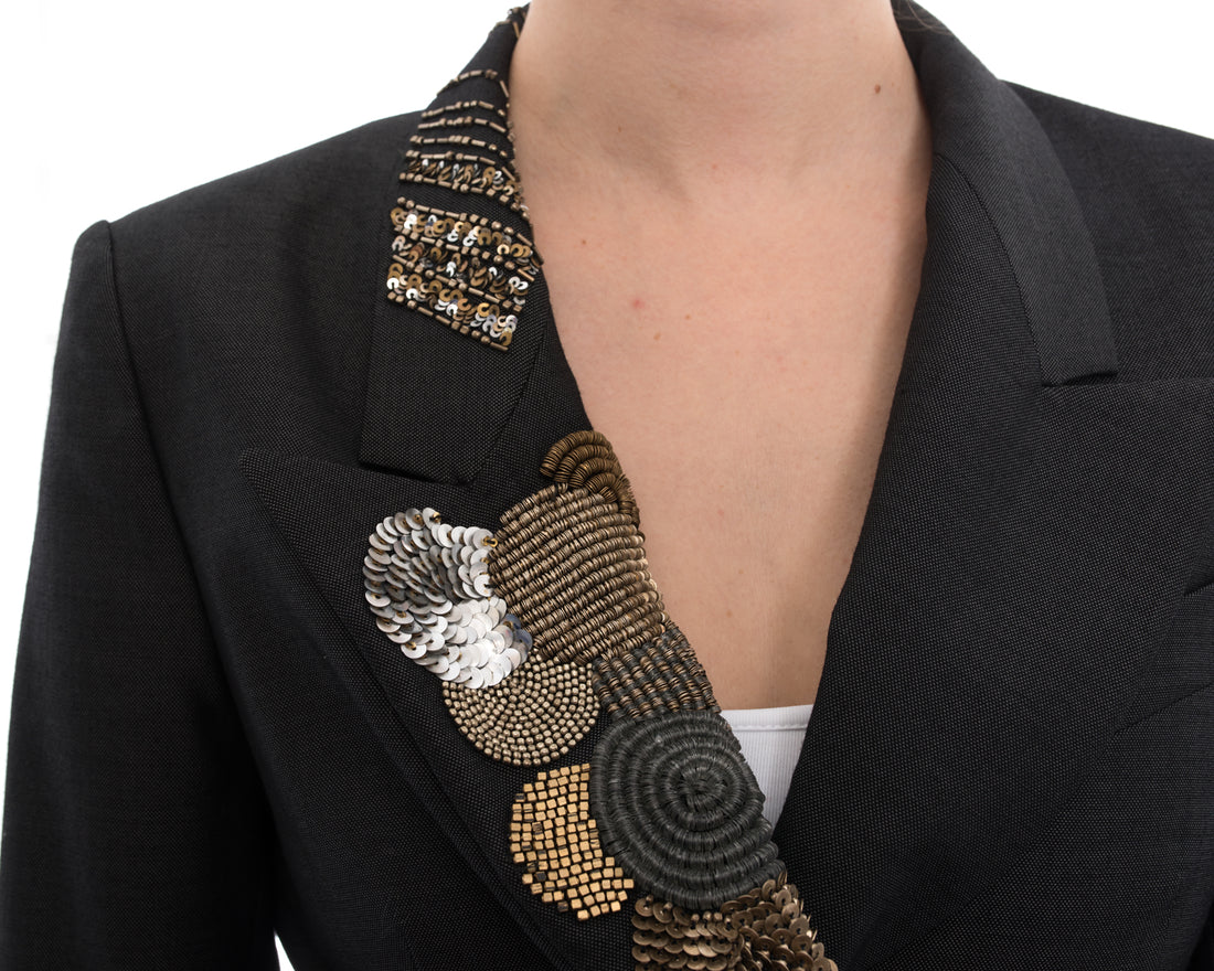 Dries Van Noten Grey Blazer with Gold Sequin Appliqué - 6