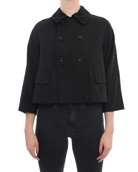 Comme Des Garcons Black Cotton Cropped Flare Jacket - S