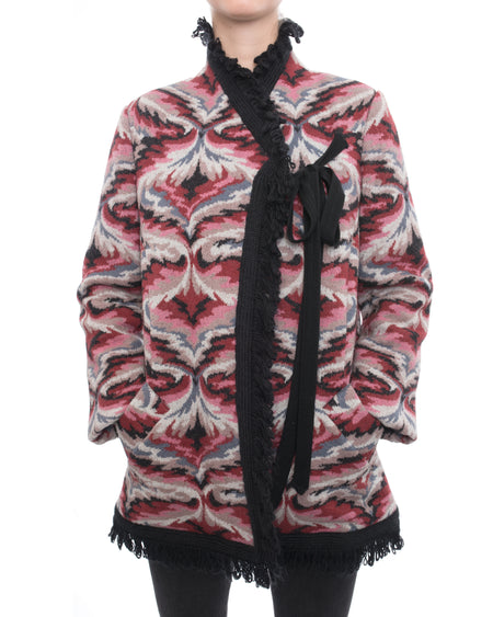 Missoni Vintage Dark Red, Pink, Black Pattern Knit Short Coat - 8/10