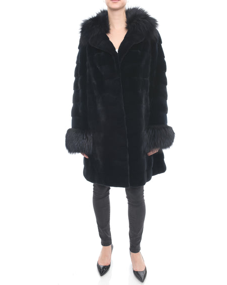 Holt Renfrew Black Sheared Mink and Fox Fur Trim Coat - 12