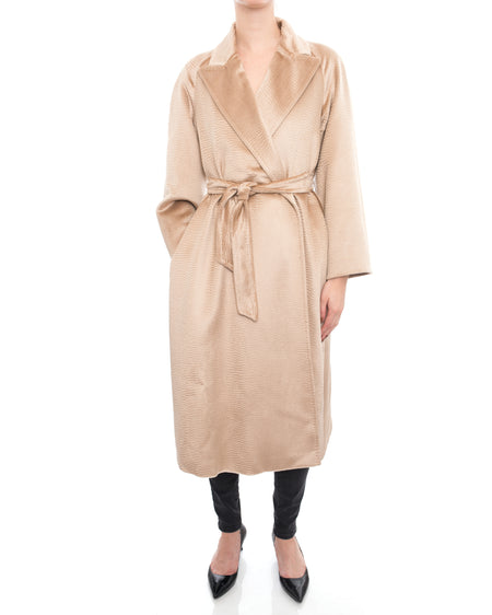 Max Mara Bormio Alpaca Soft Textured Belted Oversized Coat - 2