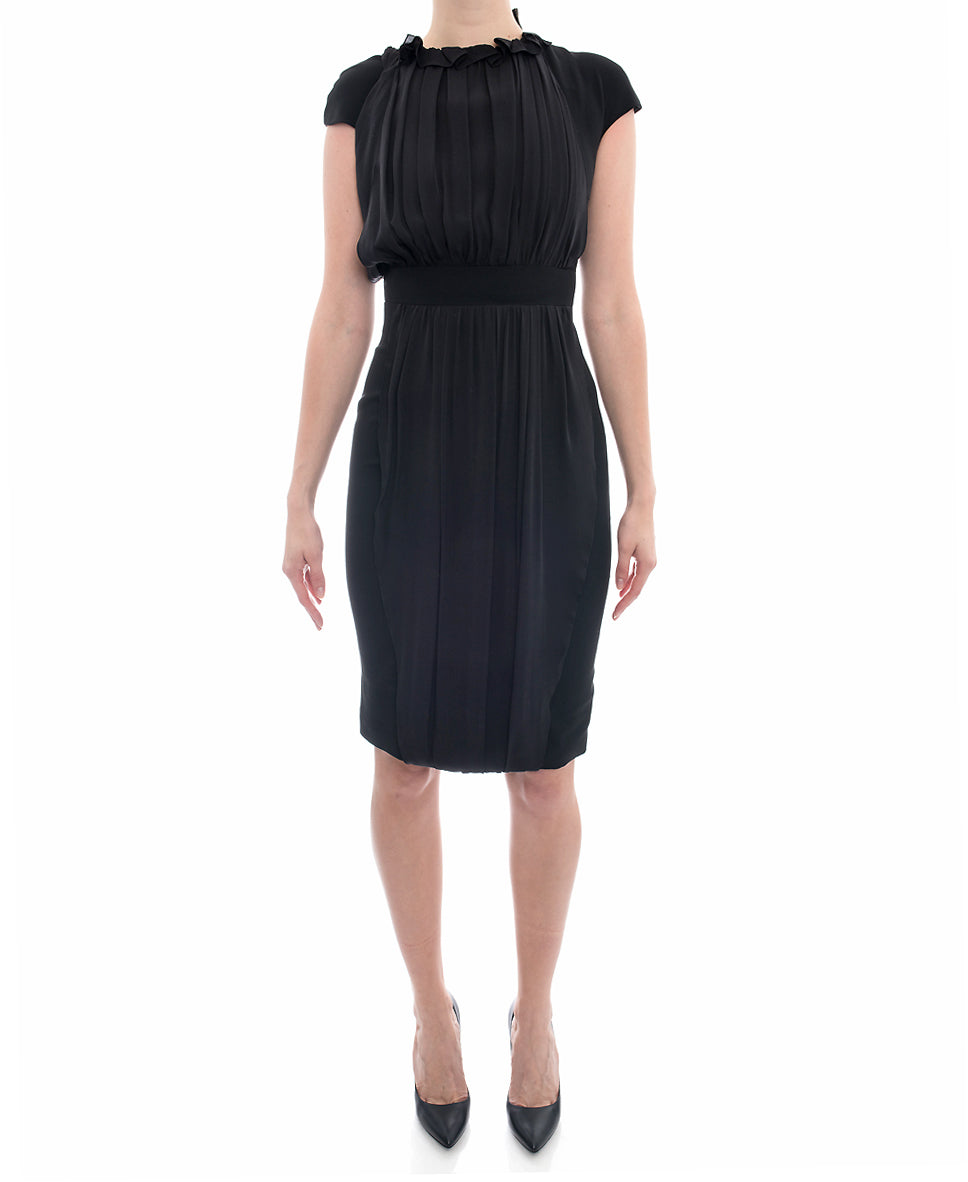 Giambattista Vali Black Fitted Hourglass Cocktail Dress with Silk Inset - 2