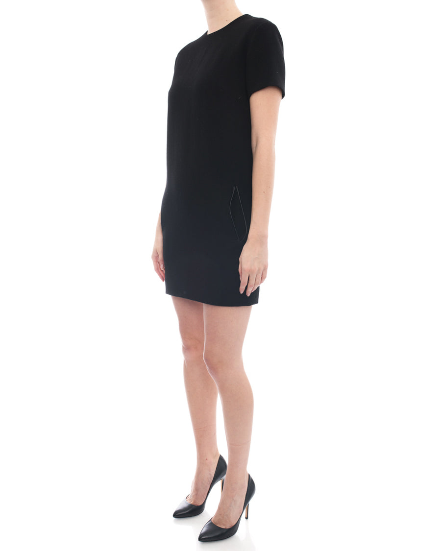 Christopher Kane Black Wool Short Sleeve Shift Dress - 4