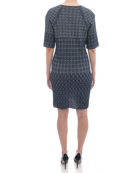 Chanel Blue Grey Silver Shimmer Knit Dress with Front Pockets - 10