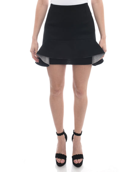 Marni Black Double Faced Mini Skirt with Flounce Hem - L