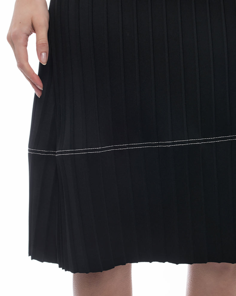 Celine Black Flat Pleat A-Line skirt with White Topstitching - M