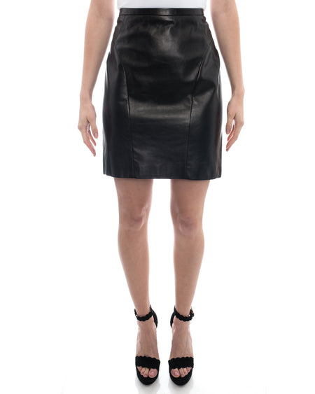 J.  Mendel Black Lambskin Leather Short Pencil Skirt - 10