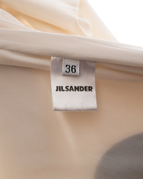 Jil Sander Fall 2000 Ivory Silk bias Dress with Grey and Black Dots - 4