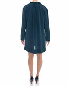 Marni Teal Silk Shift Dress with Ruffle Collar - 8
