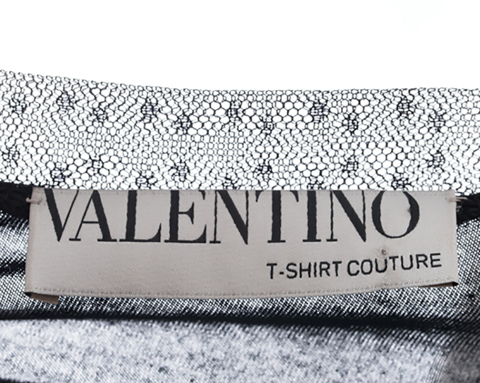 Valentino T Shirt Couture Black Bead Sequin Embellished Top - 6
