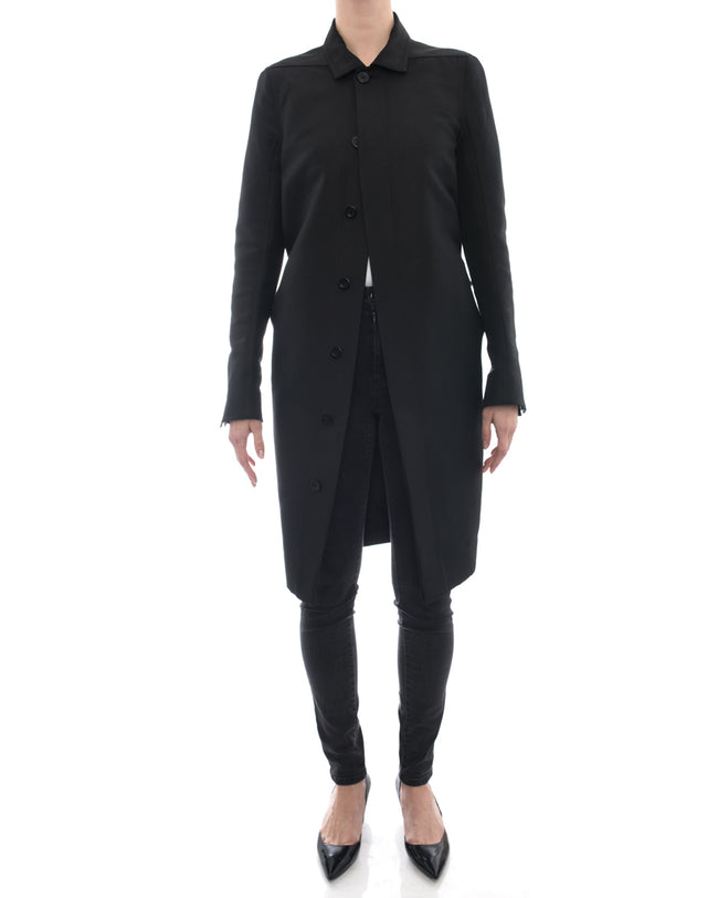Rick Owens Black Light Straight Cut Coat - 8
