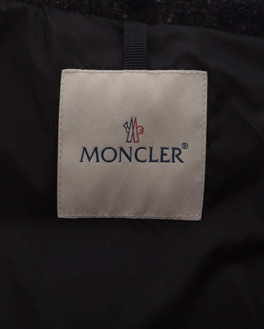 Moncler Grey Wool Silver Chaine Giubbotto Puffer Coat - 2