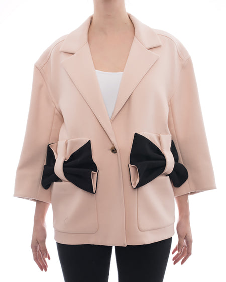 Issa Aylesworth Bow Embellished Light Pink Coat - S