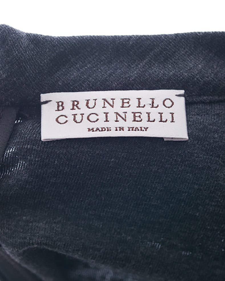 Brunello Cucinelli Charcoal Knit Jersey Dress with Chain Trim – 4