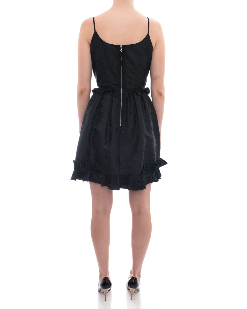 Marc Jacobs Black Jaquard Damask Strappy Cocktail Dress - 8