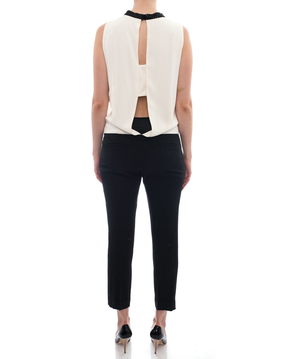 Brunello Cucinelli White and Black One Piece Jumpsuit – S