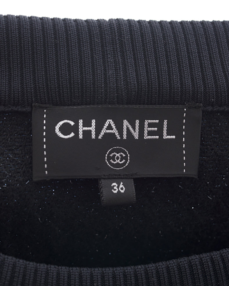 Chanel 17B Navy Textured Shimmer Gabrielle Coco Pullover Top