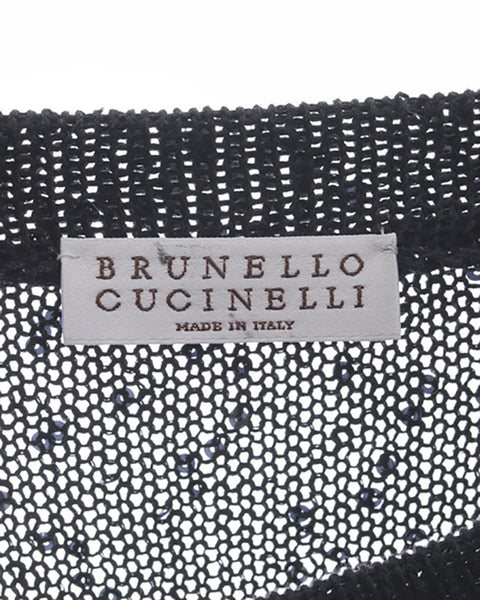 Brunello Cucinelli Black Sleeveless Knit Top with Ribbon Belt – M