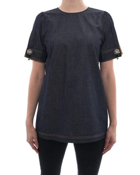 No. 21 Denim Short Sleeve Top with Jewelled Cuffs - 6