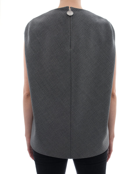 Balenciaga Grey Houndstooth Check Sleeveless Top – 6