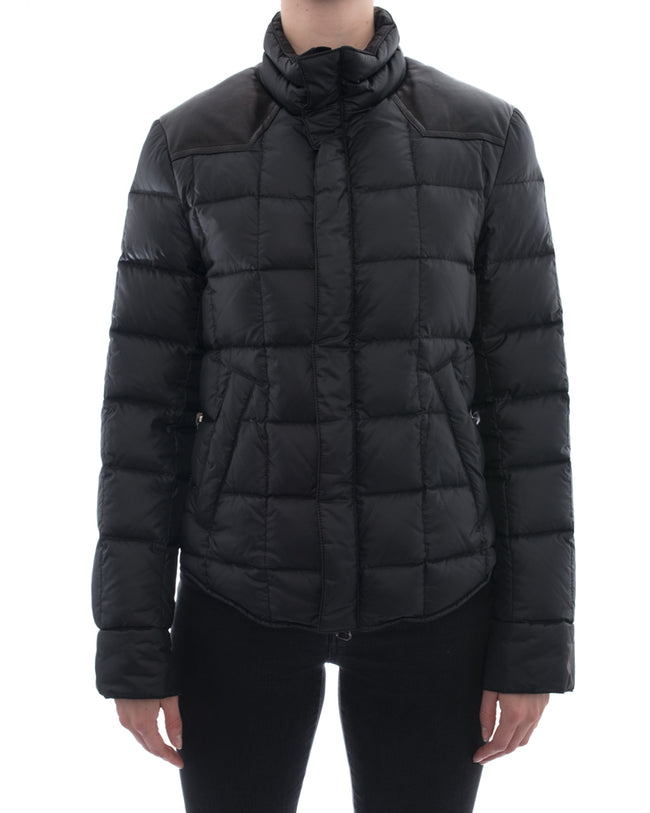 Balmain Black Puffer Zip Coat with Leather Trim – 4