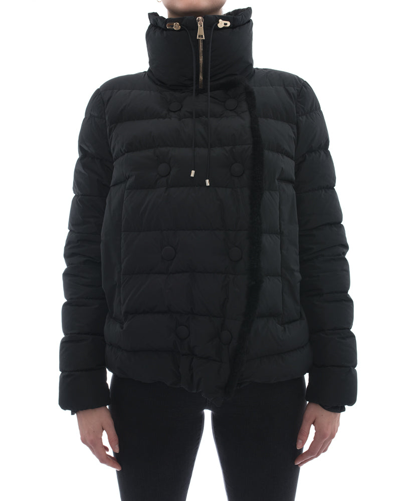 Moncler Black Puffer Coat with Shearling Trim – 6