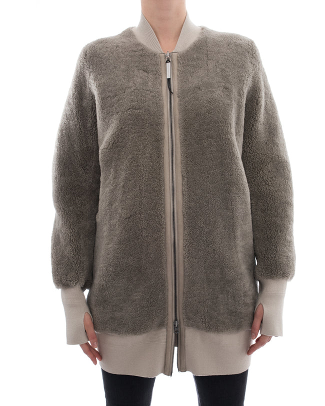Isaac Sellam Light Grey / Beige Shearling Long Bomber Jacket - S
