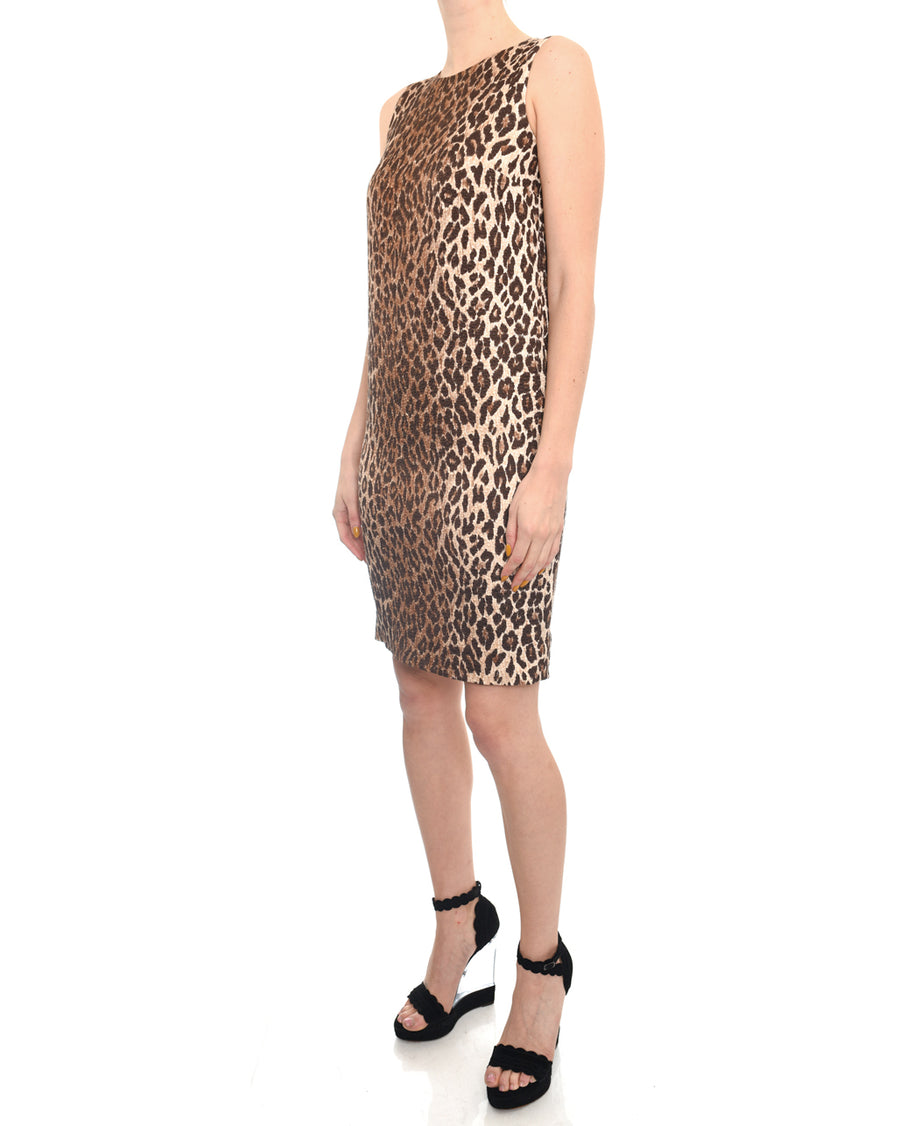 Dolce and Gabbana Leopard Pattern Sleeveless Shift Dress - 4