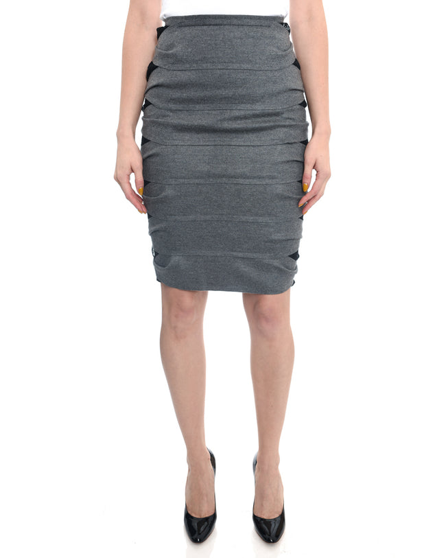 Fendi Grey Stretch Jersey Tube Skirt with Lace Underlay - 2