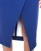 Nicholas Cobalt Blue Asymmetrical Fold Front Pencil Skirt - 8
