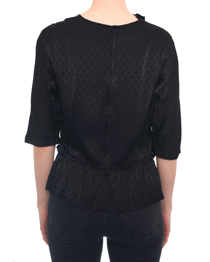 Comme Des Garcons Black Satin Dotted Top - M