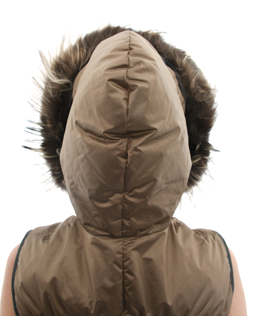 Brunello Cucinelli Light Taupe Puffer Vest with Fur Hood - XS
