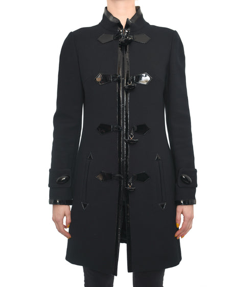 Andrew GN Black Coat with Patent Leather Trim and Toggle Buttons - 2/4