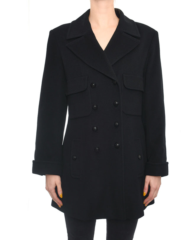 Chanel 97A Vintage Black Wool Coat - 4/6