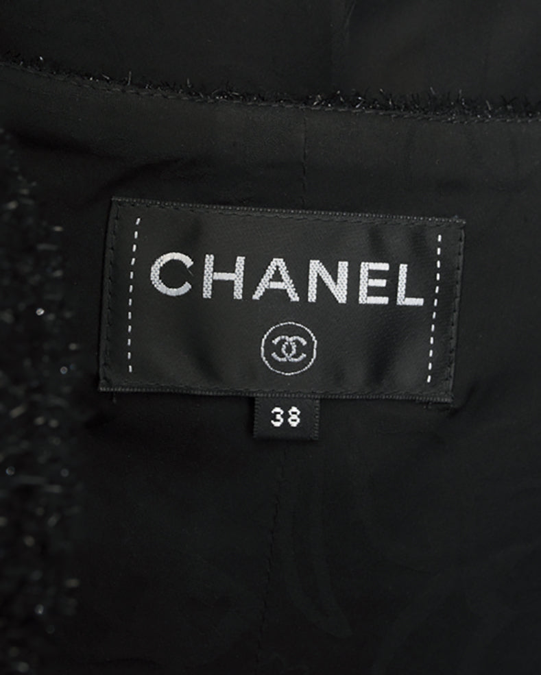 Chanel Fall 2016 Runway Black Shimmer Tinsel Dress and Jacket Suit - 6