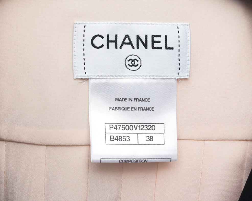 Chanel 14C Shell Pink Silk Pleat Top and Skirt 2pc Set - 38