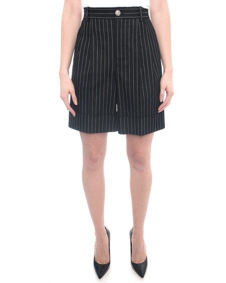 Chanel 2015 Spring Runway Grey Pinstripe High Waist Shorts - 36